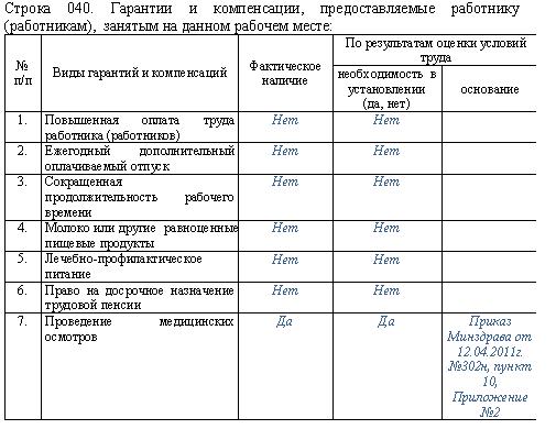 Пример заполнения карты СОУТ для рабочего места